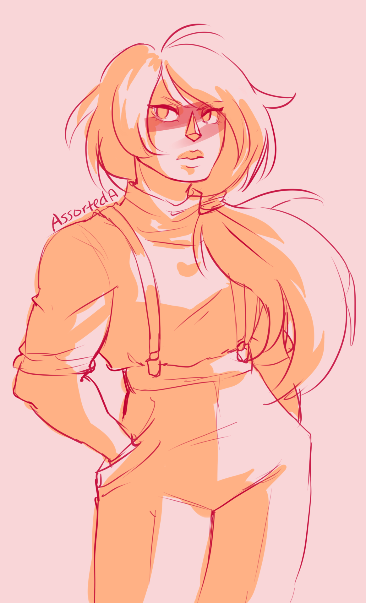 I just wanted to draw Jasper in a ponytail and suspenders.