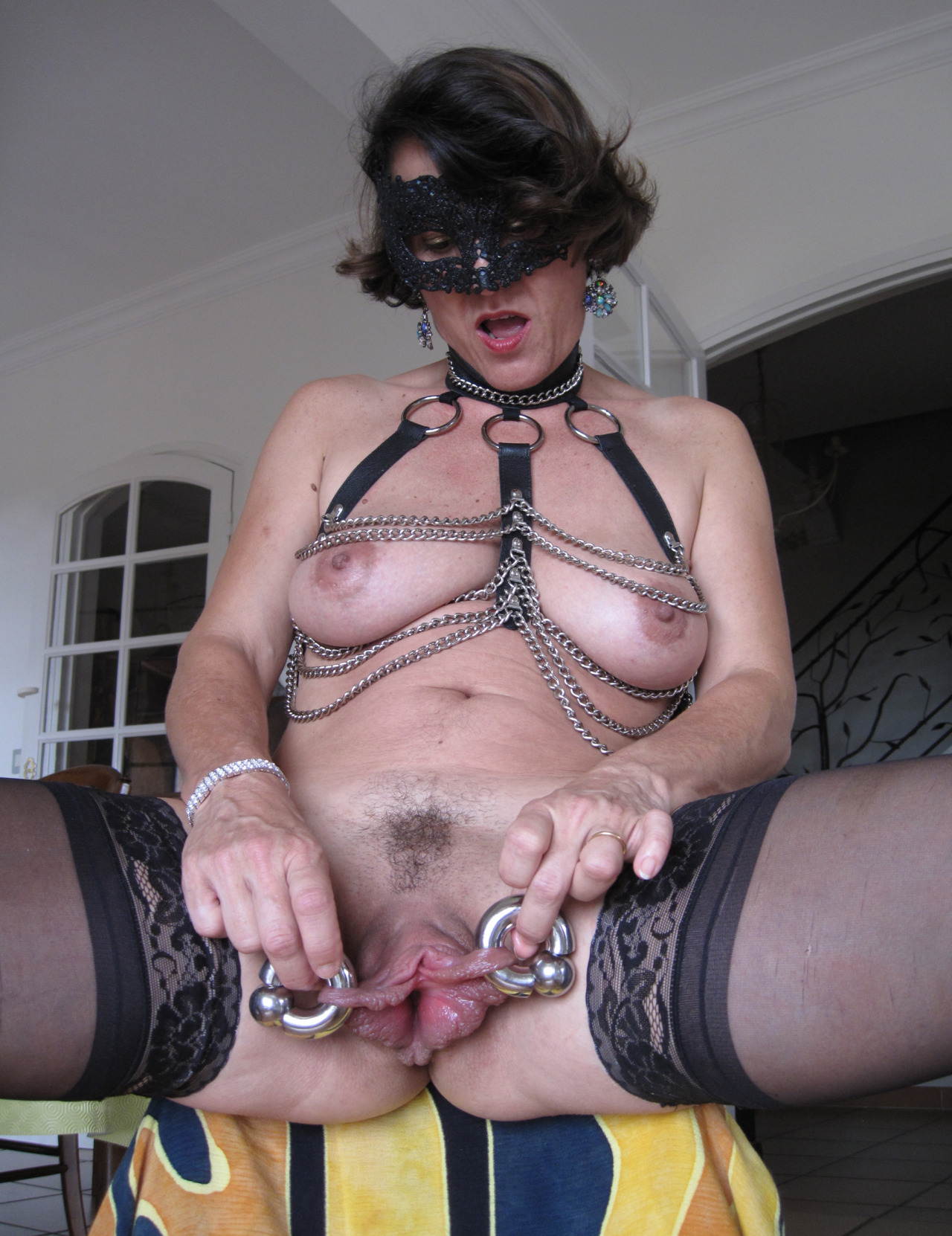 Pierced and tattooed german slut taking two cocks in ass