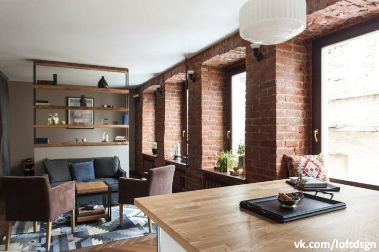 Red brick walls in loft apartment check out more interior design home decorating ideas - The home in the loft space without borders ...