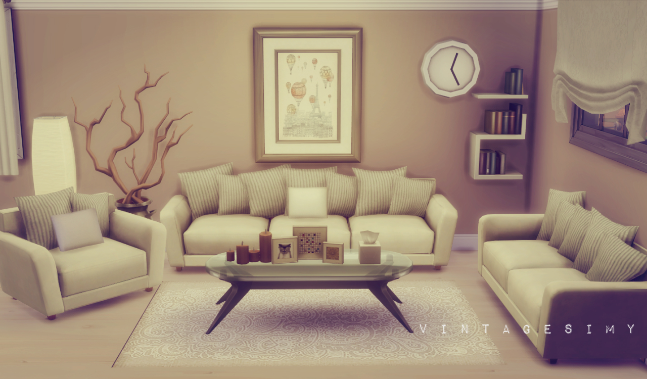 Saudade Sims Vintagesimy Hydrogen Sofa Set Recolored As