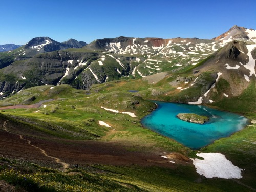 Runners ascend above Island Lake in this year's Hardrock 100.Photo: Bryon Powell
