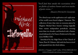 "churchofsatannews:  Announcing a revised and expanded third edition of Magister Michael Rose's INFERNALIA. Relatively difficult to find until now, this book has become a respected and sought after collection of Satanic wit and wisdom. The new paperback is available now from Amazon.com, but Underworld Amusements is very proud to release a limited numbered edition, available only either direct from the publisher for US customers or from our new official UK based distributor ASP Apparel for international customers. Only 33 total numbered copies are paired with an exclusive edition of the Satanic epic poem ""Manfred"" by Lord Byron. Magister Rose writes in INFERNALIA about how ""Manfred,"" compared to the Faust myth, adheres most more closely to Satanism as a worldview.INFERNALIA US & Intl.: Amazon.comINFERNALIA + MANFRED US only: UnderworldAmusements.comINFERNALIA + MANFRED International: ASPapparel.com"