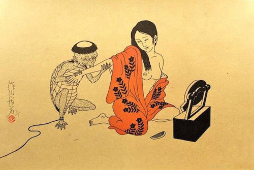 Toshio Saeki - Woman at a mirror and mutant ninja (2001)