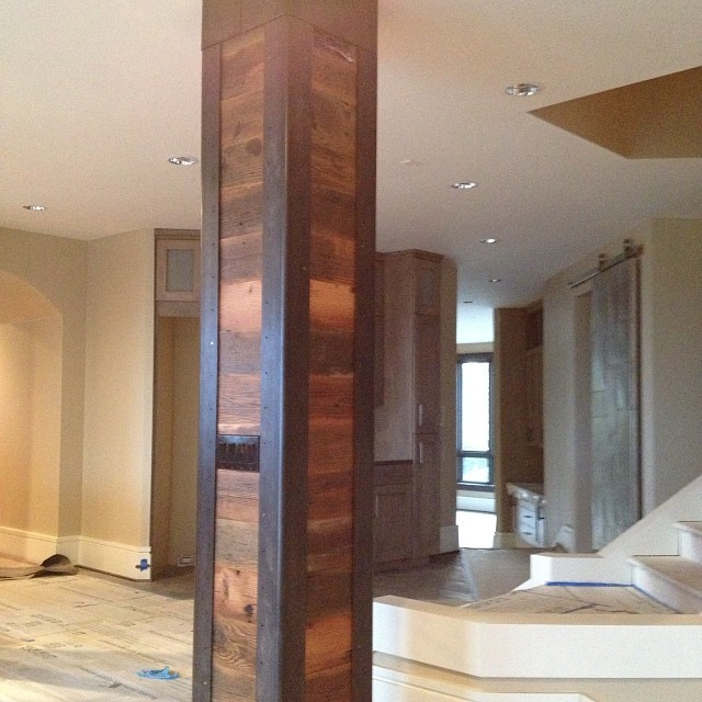 Barn Wood And Steel Clad Column From The Same Home