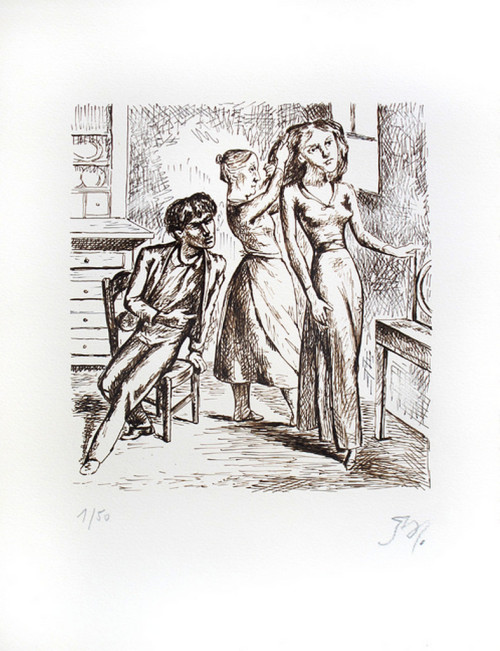 Balthus - Why have you this silk frok, then? Illustrations for Emily Bronte's Wuthering Heights, Chapter 8 (1933)