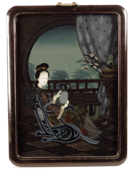Young lady seated on a terrace with a mirror (Chinese reverse glass painting, c.1870s)