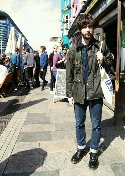 Barbourジャケット×チェックシャツ×デニムパンツ