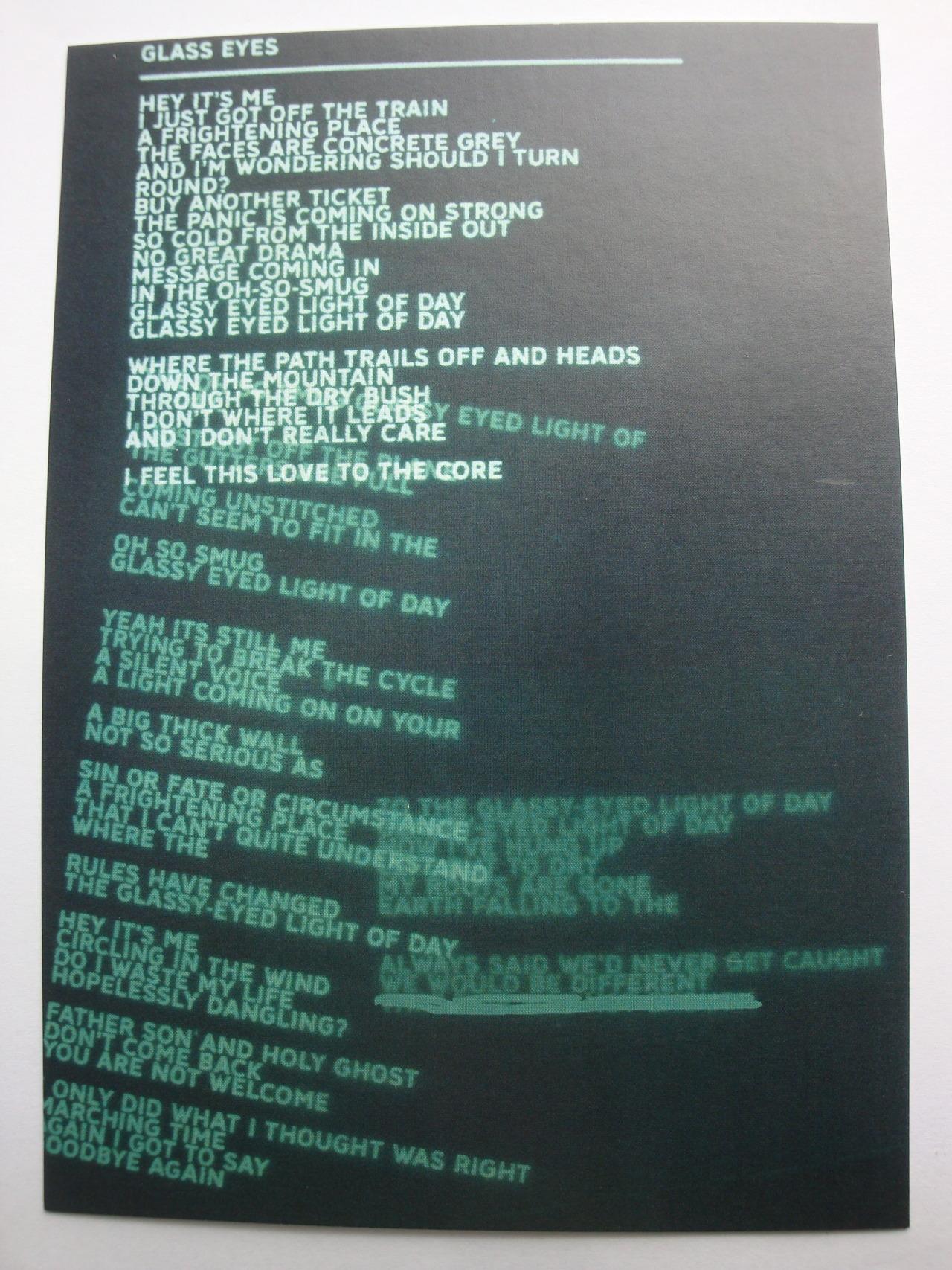AMSP Postcard Lyrics Alternate Bonus Thread Radiohead
