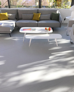 stua:  Morning light in the STUA offices, with Costura sofa and the new Solapa tables in white. A Jon Gasca design.SOLAPA: www.stua.com/design/solapa