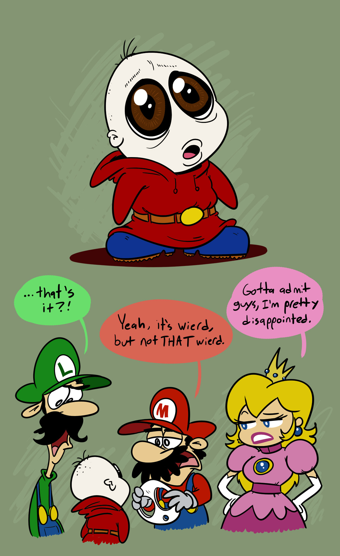 I was doodling a Shy Guy without a mask on, and...