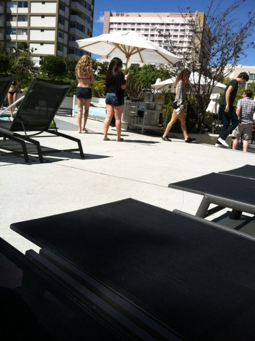 Eleanor Calder And Danielle Peazer At The Pool