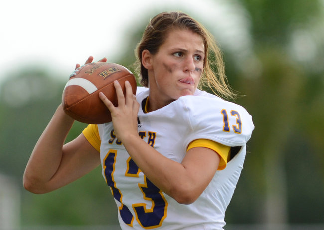 "samhumphries: "" Girl Is Pioneer at Quarterback for Florida High School Erin DiMeglio, a 17-year-old senior at South Plantation High School, is believed to be the first girl to play quarterback in a Florida high school football game. "" ""We'd be..."