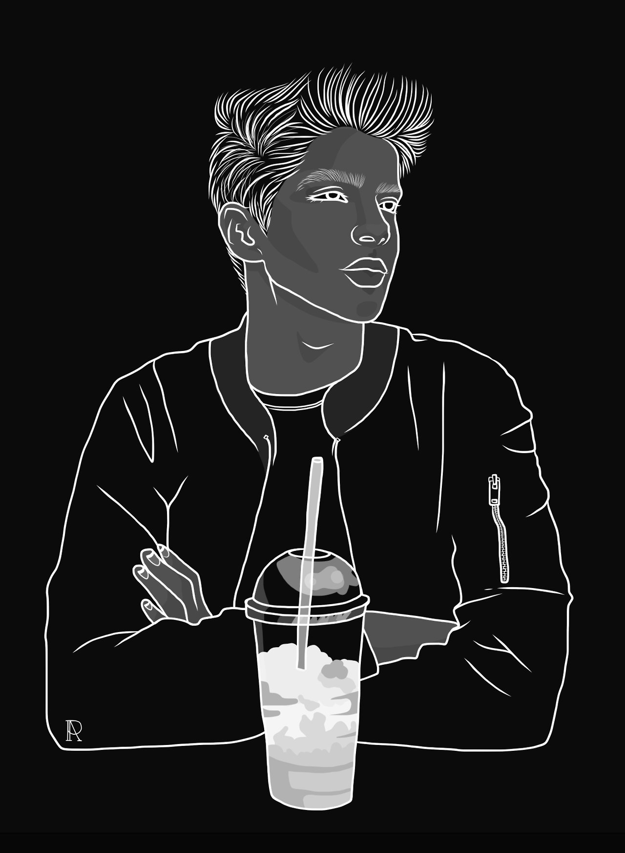 Manu rios black and white boy with drink part 2 its more of an upgrade really outline outlines drawing drawings illustrations illustration model tumblr