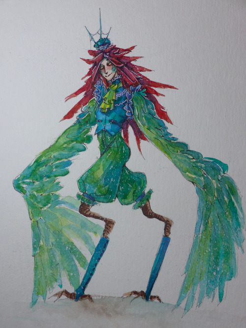 "I've seen this ""let's make an OC"" challenge thingy going around where each comment equals a physical trait. Decided to join and here's the result :Gwaihir is a emerald green bird boy with long red ""hair"" (feathers in that case) and in ""ouji"" fashion. This was a lot of fun to do tho bird legs are somewhat hard to figure out for me? I imagine Gwaihir is a pretty sassy boy xD #art#Illustration#Character Design #character design challenge #challenge#oc challenge#watercolor#traditional#traditional art#traditional painting#bird people#bird person#ouji#ouji fashion#red hair#feathers#wings#sfw#my work#my art#oc#gwaihir"
