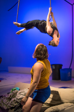 Tangle's The Girl's Guide to Neighborly Conduct in the2015 Philly FringeArts Festival. Photo by Michael Ermilio.