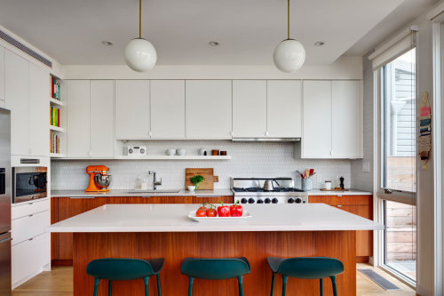 remodelproj: Clean lines / consistent material in kitchen with home office area #aesthetic#residential#kitchen#street photography#architecture#design#beauty#obsession