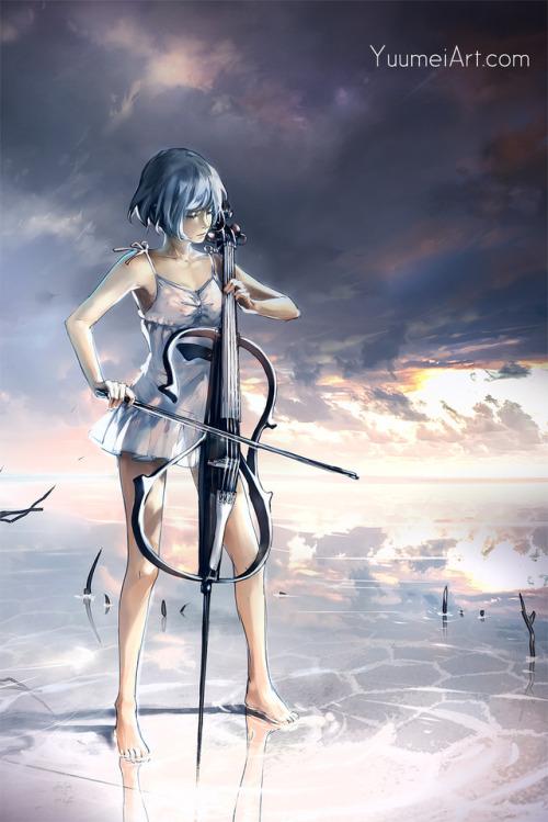 cello electric cello cellist saltflats reflection cloud sky