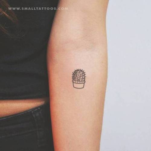 Tiny cactus pot temporary tattoo, get it here ►... flower;cactus;nature;temporary