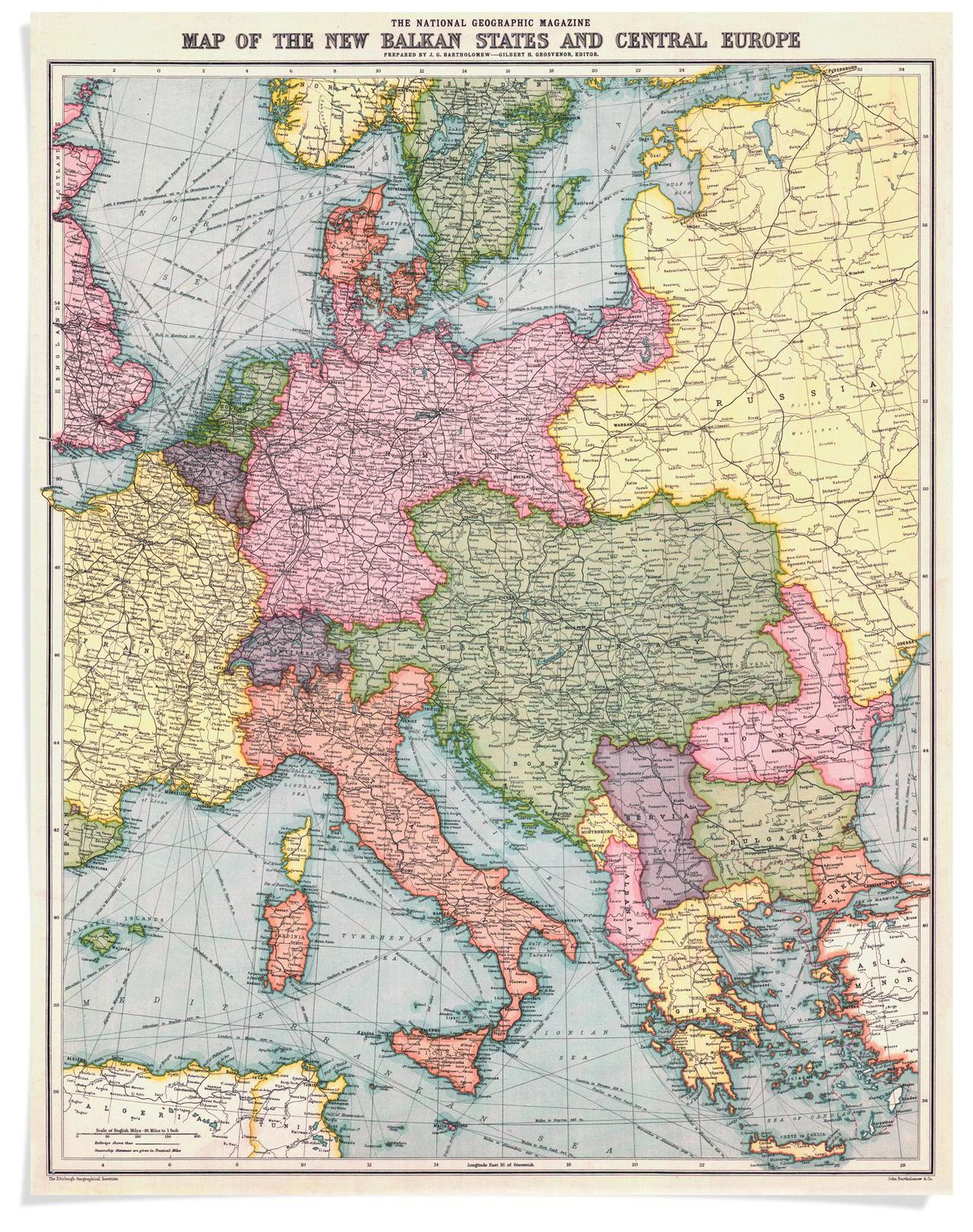 Map of the New Balkan States and Central Europe, National Geographic Society, 1914.