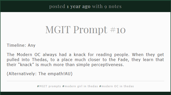 Modern Girl in Thedas — MGIT Prompts & Fills 6-10