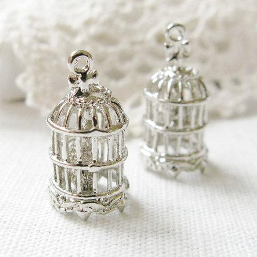 silver birdcage bird cage cage antique silver pendant
