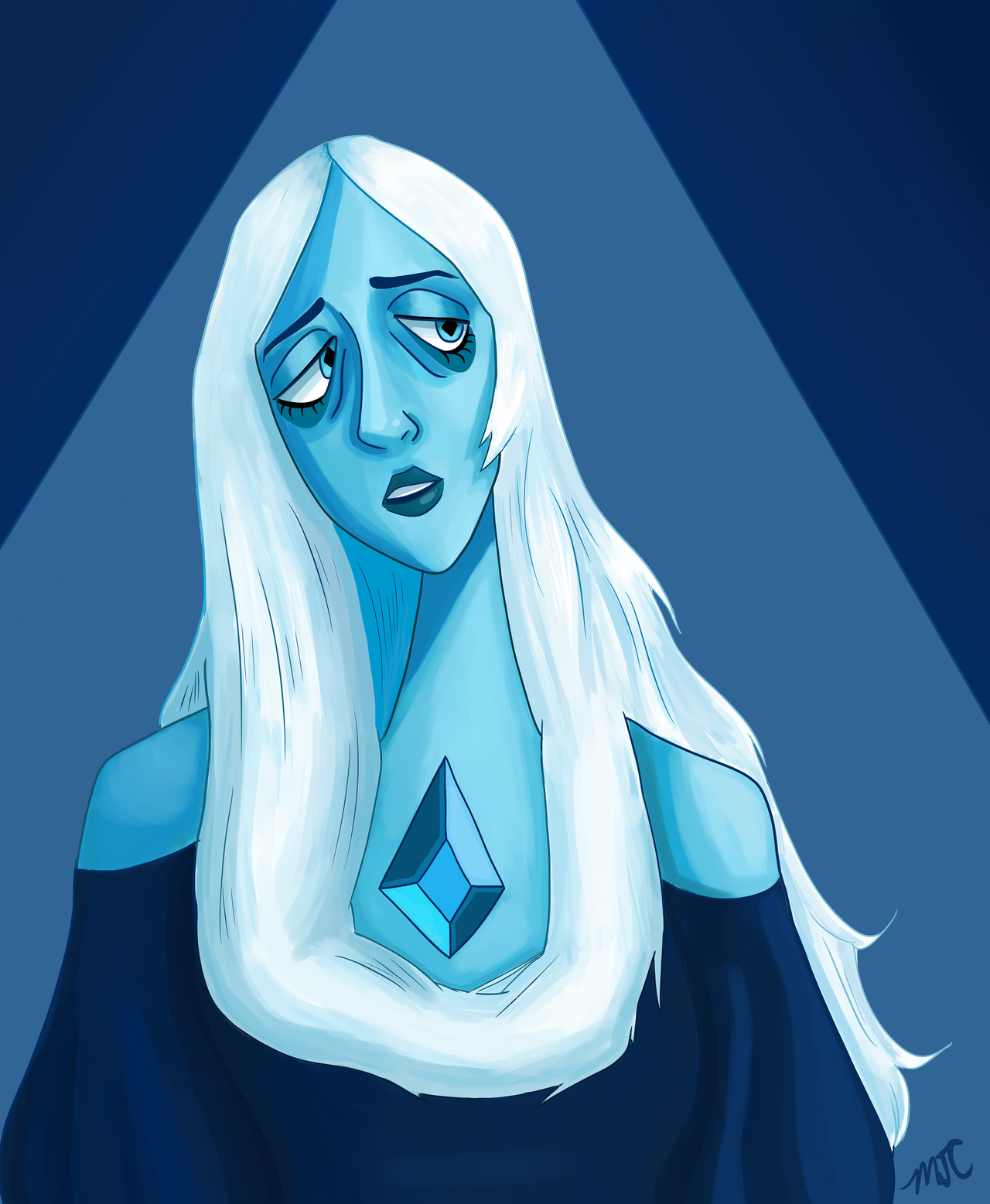 Evil dictator lady is pretty and I want her to step on me idk I was having a bad day and I needed to draw a pretty blue lady sorry also I'm practicing more actual painting with digital and its pretty...