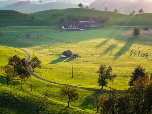 landscape morning sunrise sunshine trees house meadow switzerland nikon october 2018