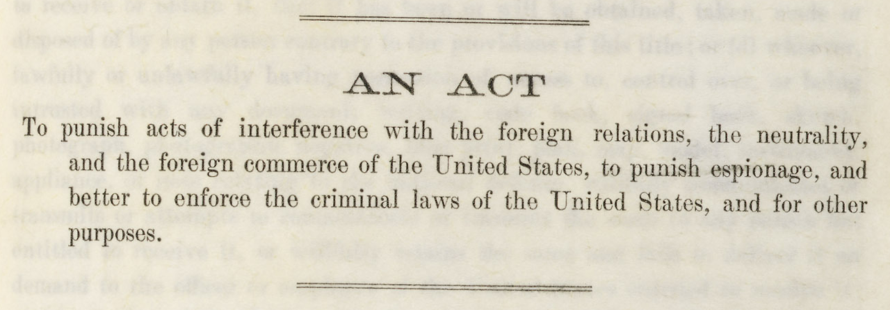Today's Document — The Espionage Act of 1917 Act of June 15, 1917,