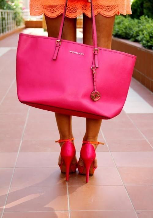 michael kors fashion pink handbag pink bag high fashion