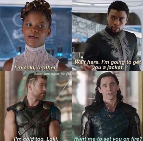 marvel thor loki chris hemsworth tom hiddleston black panther chadwick boseman tchalla avengers shuri letitia wright