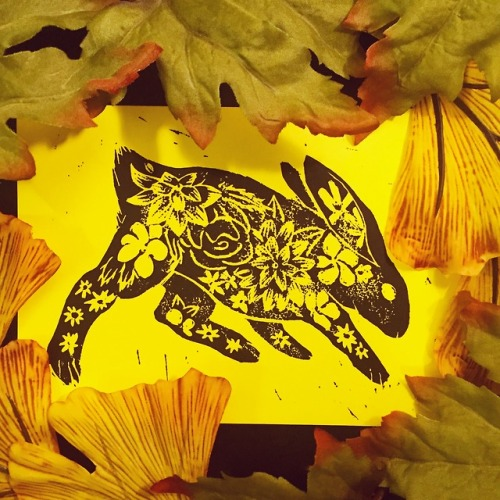 rabbit floral linocut block print illustration fall colors witch witchcraft witches of tumblr witchblr nature animals watership down