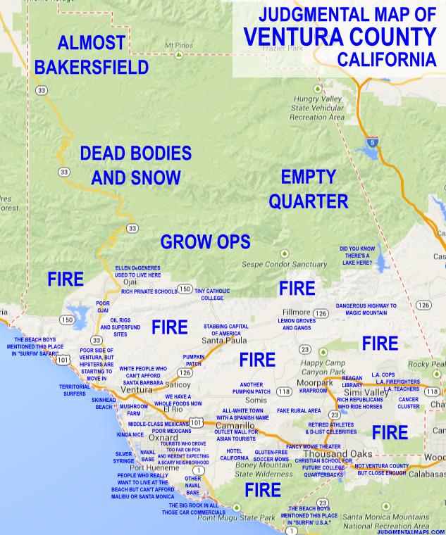 JUDGMENTAL MAPS — Ventura County, CA by Ben C. Copr. 2014 Ben C....