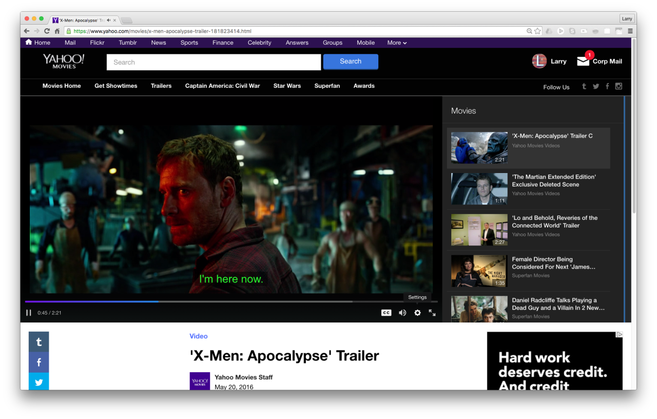 "92d21da8dfe21e  X-Men  Apocalypse"" movie trailer on Yahoo Movies with caption reading"