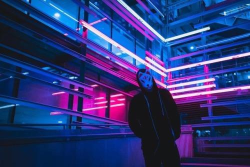 kitsune cyberpunk neon vaporwave futurism color lights pink blue glow street style city nightlife pink neon neon pink pink glow neon glow glow blog blue neon blue glow light pink light ostrich
