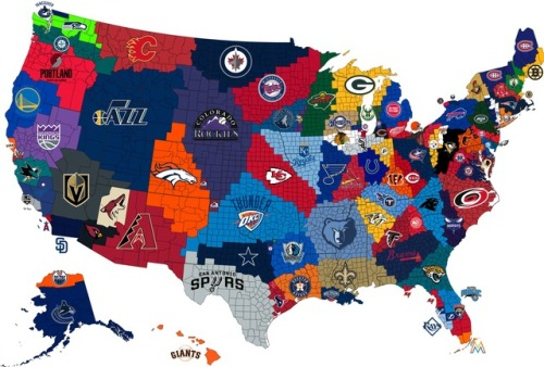 The Closest Big 4 Pro Sports Team To Each Us Maps On The Web - Us-map-nfl-teams