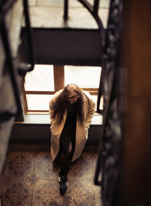hotel hotel photo hotel stairs 1930s brown color brunette beige coat coat new balance girl babe stairs Big Windows