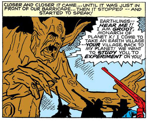 """From """"I Challenged… Groot! The Monster from Planet X!"""" in Tales to Astonish #13, Marvel Comics,  November 1960. Plot by Stan Lee (?), script by Larry Lieber (?),  pencils by Jack Kirby, inks by Dick Ayers, colors by Stan Goldberg,  letters by Ray Holloway. #groot #i am groot #origin#comics#first appearance #monster from planet x  #tales to astonish #marvel#marvel comics#1960s#jack kirby#dick ayers#stan goldberg#ray holloway#monster#comic book#comic books #silver age comics #comic"""
