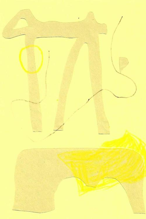 Yellow on Yellow on Yellow (2019)Collage of wax crayon, sugar paper, coloured card and pencil.