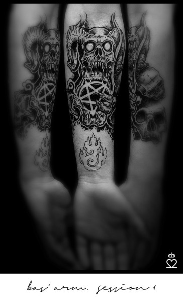 9f8a3fb79c17c #Black Gray Tattoo#skull tattoo#pentagram tattoo#bas vd boom#satanic