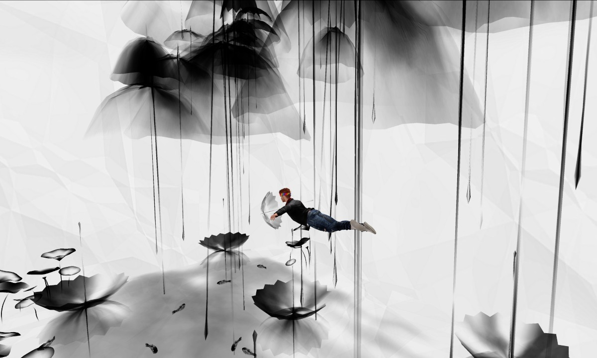 Ricco flying at Shui Mo Chinese Brush Art, art installation by Fiona Fei. Taken at SL16B