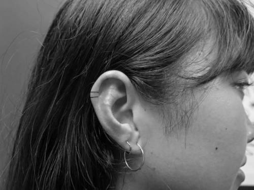 By Lily Gloria, done at Sayagata Tattoo, Melbourne.... geometric shape;small;lilygloria;line;micro;tiny;hand poked;ifttt;little;minimalist;ear