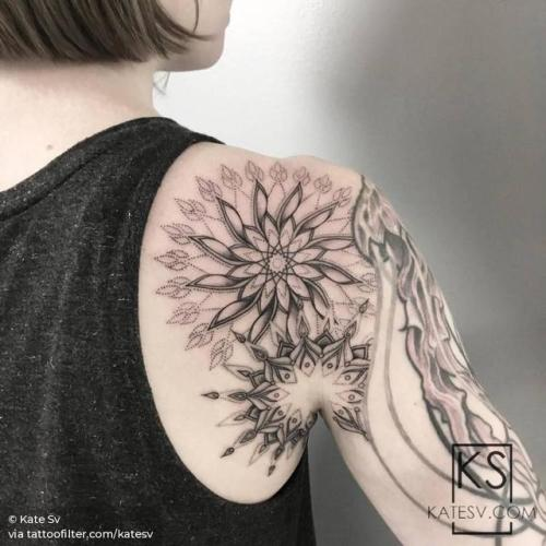 By Kate Sv, done at Dot. Creative Group, Manhattan.... big;of sacred geometry shapes;mandala;facebook;blackwork;twitter;katesv;shoulder;sacred geometry