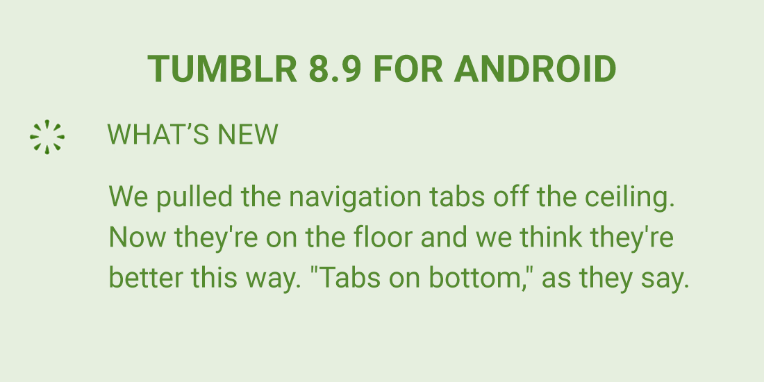 unwrapping tumblr with tumblr 8 9 for android the navigation tabs