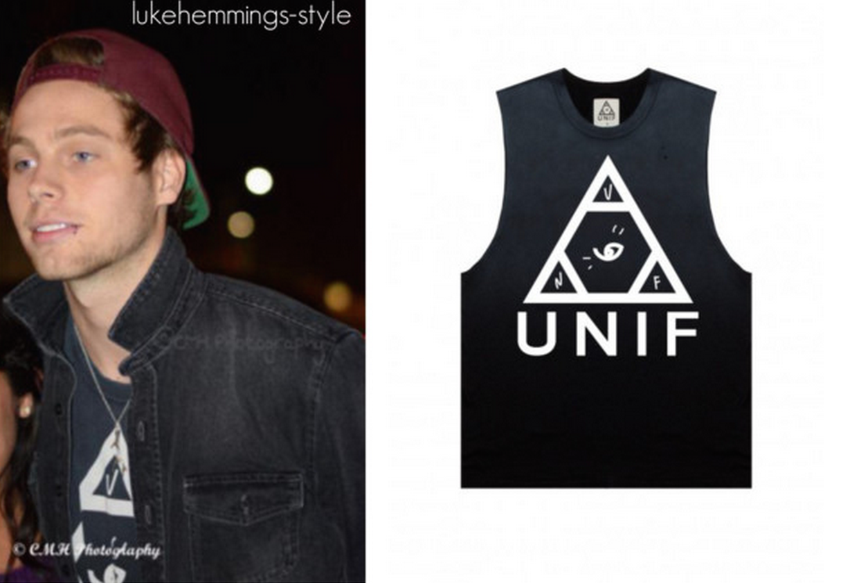 "bf77830690b ""Luke was pictured taking pictures with fans wearing this UNIF log muscle  tee that you"