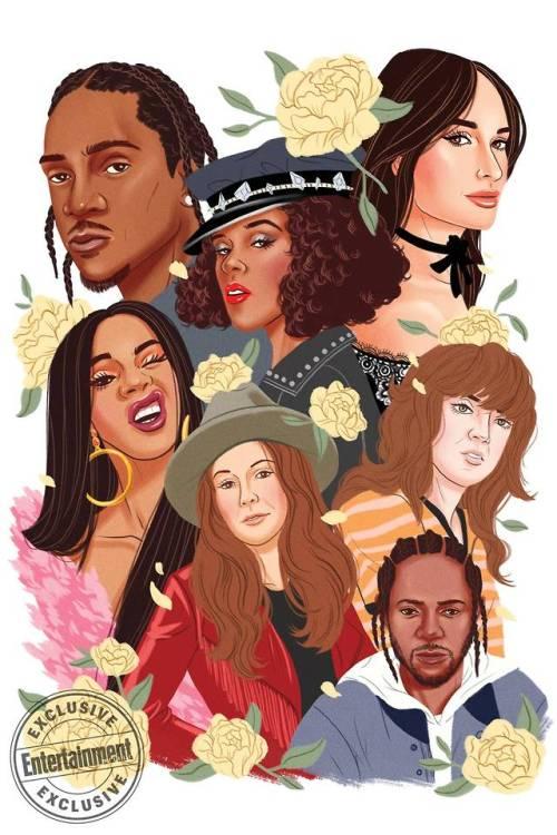 art illustration entertainment weekly pusha t janelle monae kacey musgraves cardi b brandi carlile courtney barnett kendrick lamar artists on tumblr