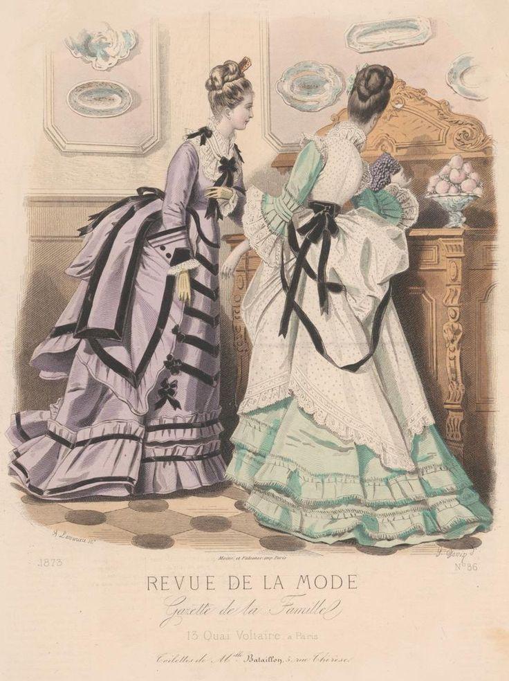 Fashion plate, 1873, France. #dress#fashion plate#1870s#antique#victorian