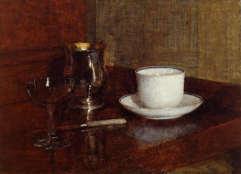 Henri Fantin-Latour — Still Life Glass, Silver Goblet and Cup of...