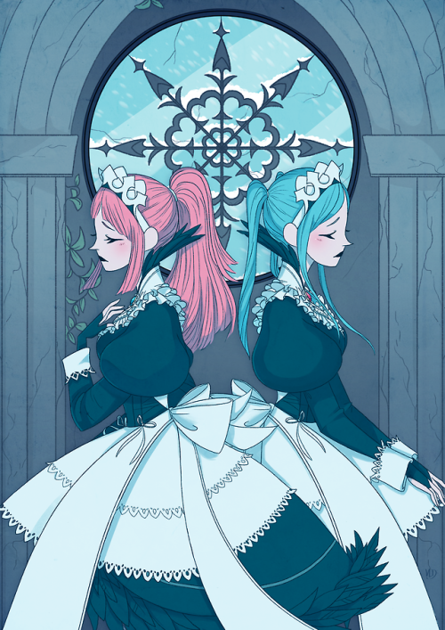 firemeblem fire emblem flore felicia sisters twins maid class fantasy strategy illustration art fanart FEH fire emblem fates fire emblem heroes snow ice tribe tribe