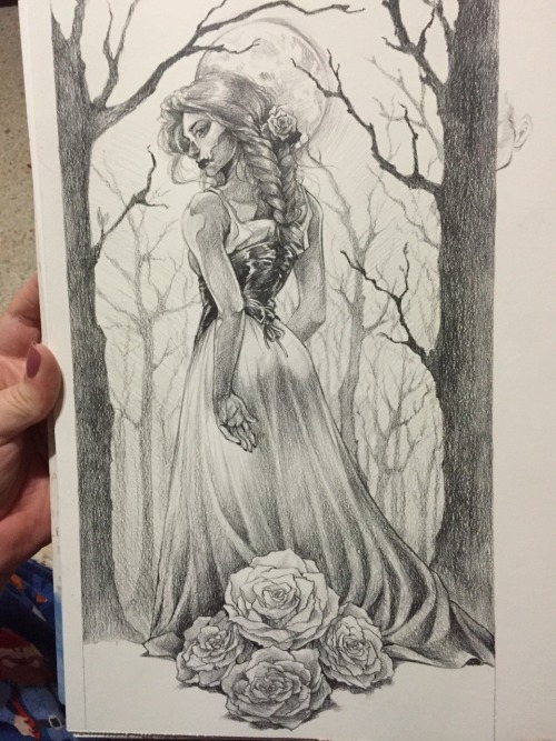drawing dress illustration illustrate your world dark artists dark art sketch daily daily drawing graphite roses line art shading art forest trees death day of the dead skull