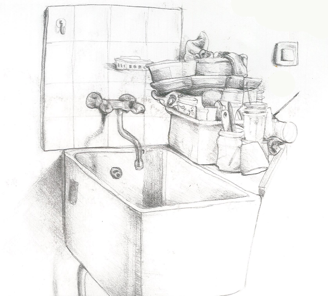 i did this drawing of my high school's art class sink a few years back. it was always crowded and full of stuff and even though this drawing is super old now it still stirs up a lot of memories lol. #sink#drawing#pencil#pen#sketch#sketchbook#art room#art class#memories#nostalgia#aesthetic#trans artist #artists on tumblr